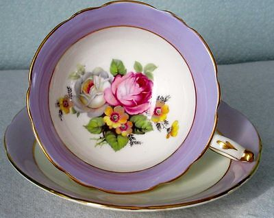 Paragon RARE Exquisite Lavender, Summer Flowers Cup & Saucer 1940s