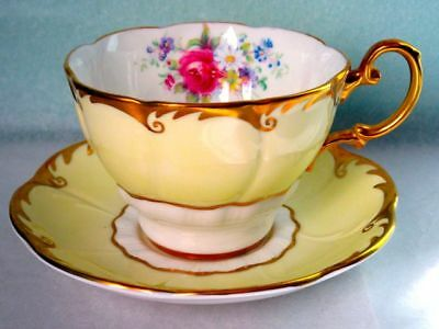 Paragon Yellow Rich Gold Summer Flowers A1447 Fine Bone China Cup & Saucer