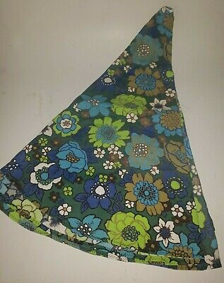 """Vintage 1960s Round Table Cloth Cover 64"""" Mod Flower Power Blue & Green"""