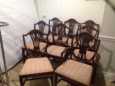 Set of 8 Shield Back Mahogany Dining Chairs by Lenoir Chair CO. N.C.