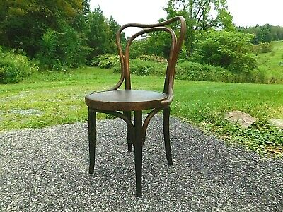 Rare 1920s Antique Austria J&J Kohn Oak Thonet Bentwood Incised Seat Cafe Chair