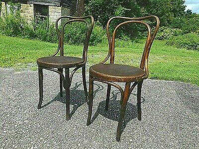 Pair Antique 20s Thonet Kohn Austria Oak Bentwood Cafe Bistro Chairs Nice Patina