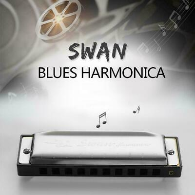New Swan Harmonica 10 Holes Key of C SILVER w/ Case Blues Stainless Harp St Y5Q4