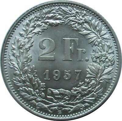 Top Condition: Switzerland 2 Swiss Francs 1957 B, Helvetia