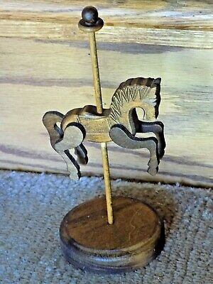 Collectible Hand Carved Minature Wooden Carousel Horse Figurine