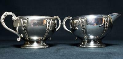 Antique Silver Plated Jug and Sugar Bowl, US Late 19thC Wm Rogers MFG Co