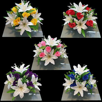 Grave Artificial/Silk flower arrangement grave memorial pot crem vase HandMade