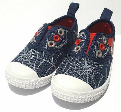 Boys Official Spider Man Slip On Canvas Shoes - Labels & Packaging, Size 5