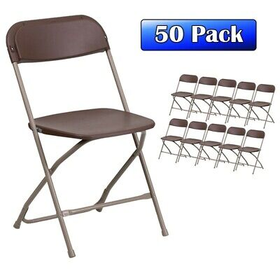 50 Plastic Brown Folding Stackable Commercial Chairs Party Wedding Church Chair