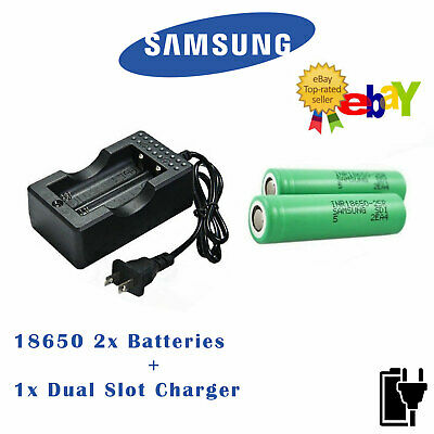 Samsung 2PC 18650 25R 2500mAh Li-ion Rechargeable Battery with Charger FREE CASE