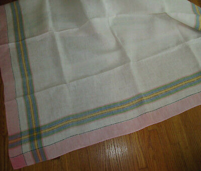 Vintage Sweet Pink Blue Green Yellow Plaid Stripe Border Linen Tablecloth