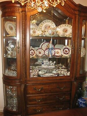 Gorgeous Carved Solid Oak Wood  China Cabinet W/lightening