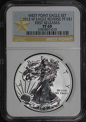 2013-W Reverse Proof Silver Eagle West Point Set First Release NGC PF-69 -182503
