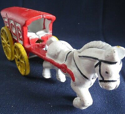Vintage Reproduction 1970s Era Cast Iron Toy Horse Drawn Ice Truck Carriage