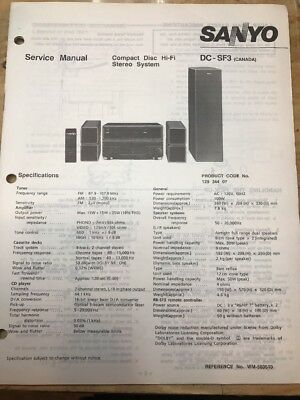 Original Sanyo DC-SF3 CD HI-FI Stereo System Service Manual