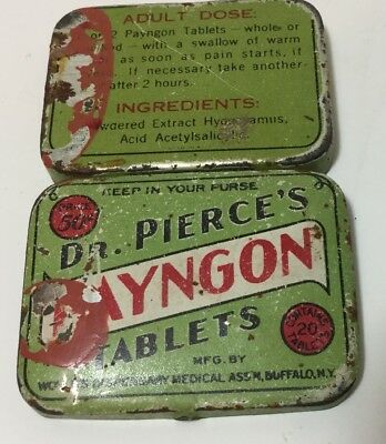 VINTAGE 1920s-1930s DR. PIERCE'S Payngon Tablets Pocket Or Keep In Your Purse