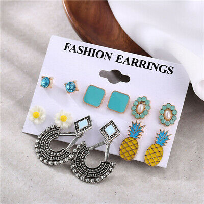 6Pairs Boho Pineapple Flowers Crystal Pearl Earrings Women Ear Stud Jewelry NEW