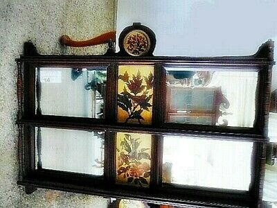 Antique Victorian Curio Whatnot Hanging Wall Shelf Mirror & Inlaid Flower Panels