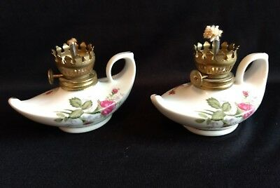 Set of 2 Vintage Miniature Genie Ceramic White Hand Painted Roses Oil Lamp
