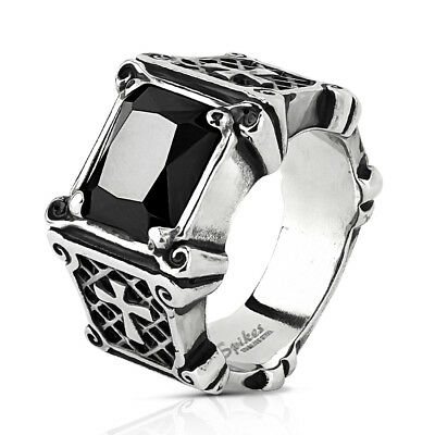 Coolbodyart Men's Ring Statementring in Silver with Edged Zirconia and Kre
