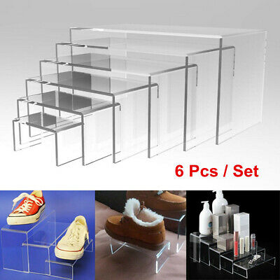 6Pcs Jewellery Display Riser Stand Set Acrylic Perspex Clear 4.5 mm Thicknes