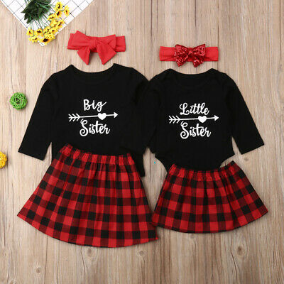 Big/Little Sister Matching Set Baby Girls Tops Romper Dress Christmas Clothes