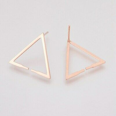 2pc Solid 925 Sterling Silver Triangle Earring Posts Stud Findings Hollow 17.5mm