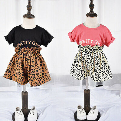 Fashion Toddler Kids Baby Girl Tops T-shirt Leopard Shorts Pants Outfits Clothes