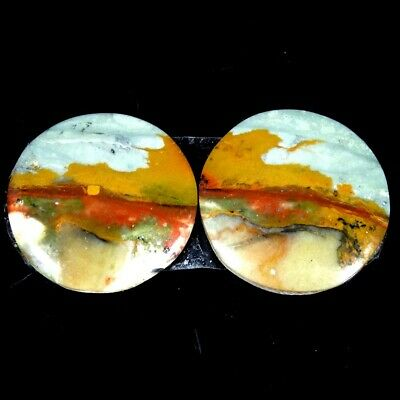 16.10Cts 100% Natural American Rocky Beauty Jasper Round Pair Cab Loose Gemstone