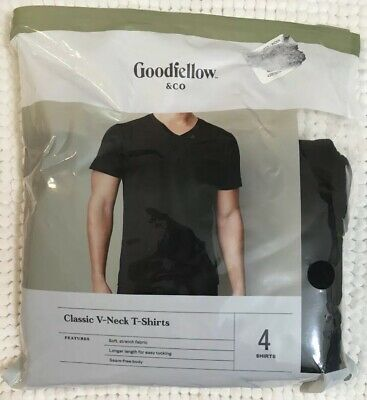 GOODFELLOW Co Sz M mens black tshirts crews tagless cotton soft 3 pack new b2