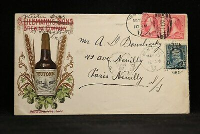 New York: NY City 1897 Teutonic Hops Beer Advertising Cover to Paris