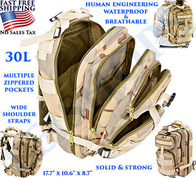 30L Outdoor Tactical Backpack Military Sport Camping Hiking School Bag Zippered