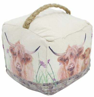 Charming Highland Cow Country Scene Doorstop - Novelty Animal Fabric Door Stop