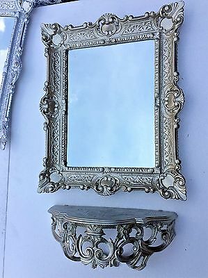 Wall Mirror with Console with Drawer Antique Silver Tray 56X46 Barock