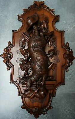Rare Antique Black Forest (38)Walnut Carved Hunt Plaque