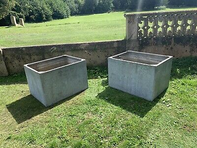 Pair Of Galvanized Water Tank/ Riveted / Architectural Salvage, Country House