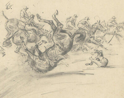 Peter Biegel (1913-1989) - 1955 Graphite Drawing, Fall at the Hurdle
