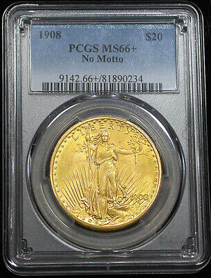Lovely 1908 PCGS MS66+ Plus Gem Saint Gaudens $20 Gold (mh2682)