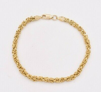 "4mm Square Byzantine Link Bracelet Lobster Lock Real 14K Yellow Gold 7.5"" ITALY"