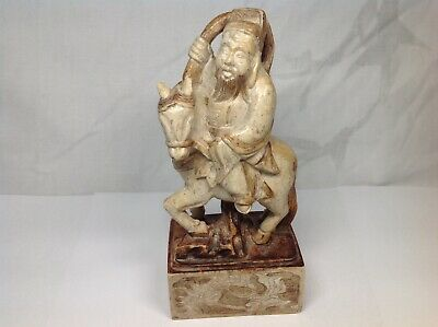 Old Chinese Soapstone Carved Zhang Guo Lao Immortal And Donkey