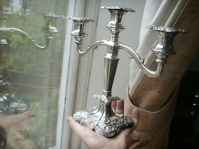Old Vintage Fine English Silver Plated Georgian Style Candelabra Candlestick