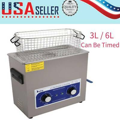 Stainless Steel Ultrasonic Cleaner 3L/6L Liter Heated Heater w/Timer Industry