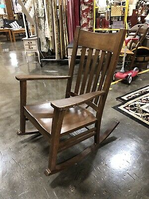 Antique Mission Oak Stickley Rocker Rocking Chair Original Finish