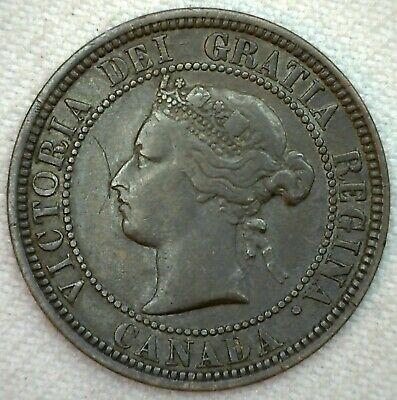 1881 H Canada Large Cent 1c Copper Canadian One Cent Coin VF Very Fine K60