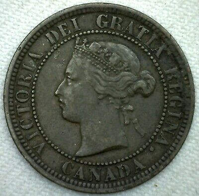 1882 H Canada Large Cent 1c Copper Canadian One Cent Coin VF Very Fine K71
