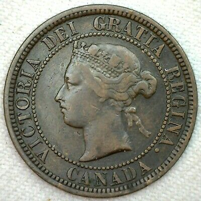 1881 H Canada Large Cent 1c Copper Canadian One Cent Coin Fine K59