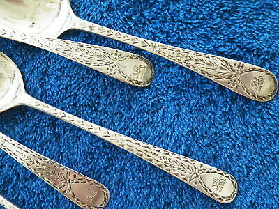 Set Of 8 Vntg British Sterling Silver Tea Spoons