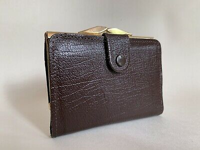Vintage 1960s Brown Textured Leather Coin Purse Wallet With Brown Leather Lining