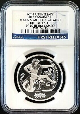 2013 Canada $1 Silver, 60th Anniv. Korea Armistice, NGC First Releases PF 70 UC!