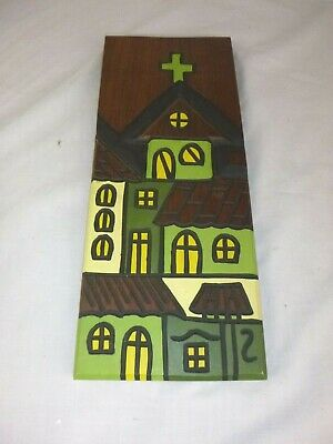 Vtg Mid Century Modernist Carved Walnut Wooden Wall Plaque Zuhause Church